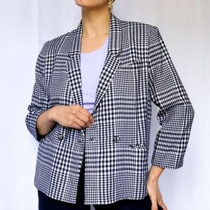 Vintage b&w wooly gingham double breasted blazer